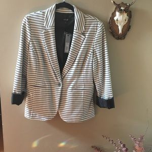Apt 9 White and Black Striped Blazer